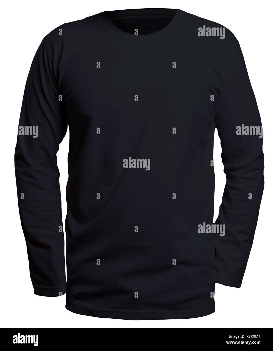 Blank Long Sleve Shirt Mock Up Template Front View Isolated On