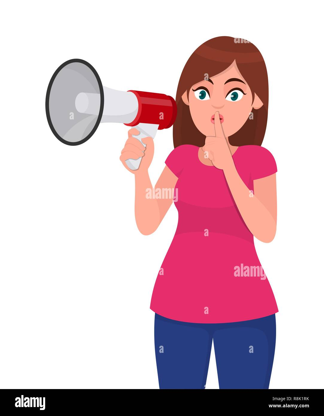 Young woman holding a megaphone/loud speaker, asking for silence, closed her mouth with index finger. Shh! Silence please! Keep quiet! Concept illustr Stock Vector