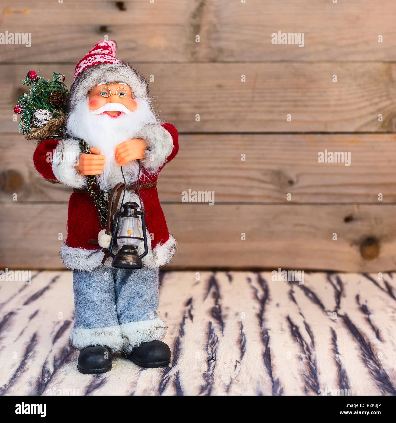 75b344db43055 Christmas or New Year Santa Claus postcard background with copy space