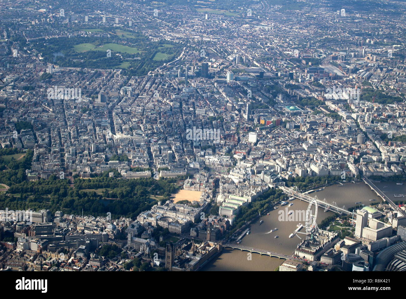 Aerial of London featuring The River Thames and London Eye - Stock Image