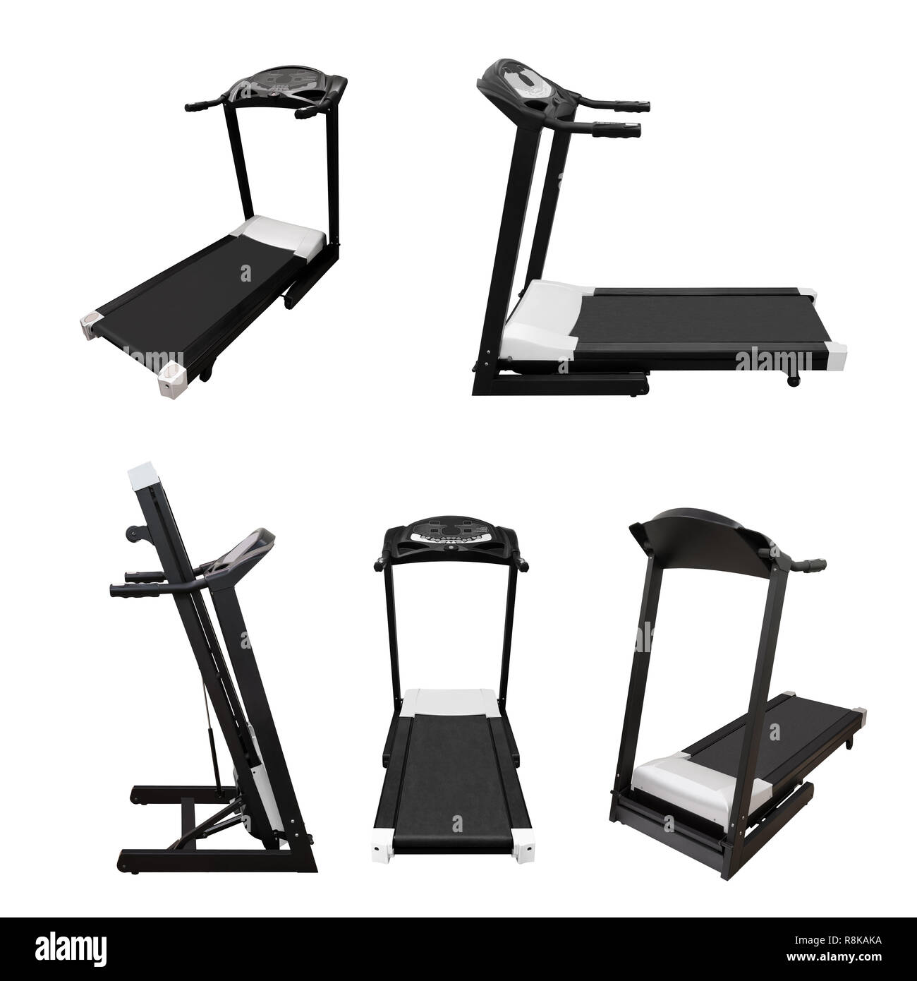Treadmill fitness equipment isolated on white background - Stock Image