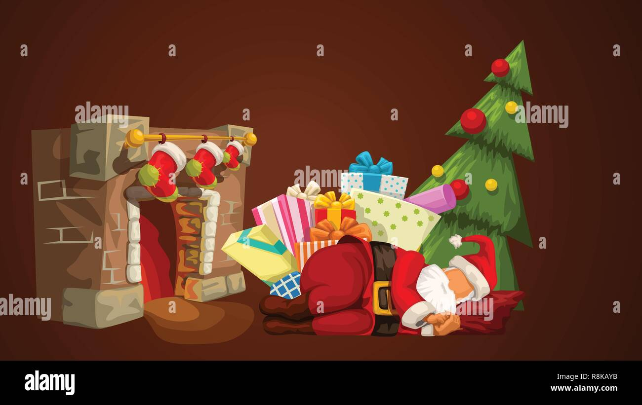 sleeping santa near fireplace - Stock Vector