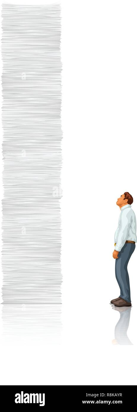 white tall paper stack vs man - Stock Vector