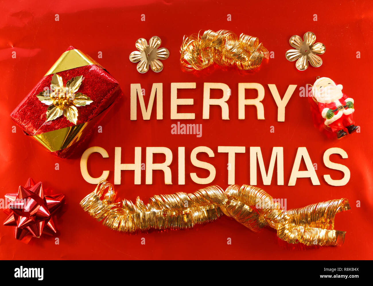Merry Christmas Written In Wooden Letters And Christmas Decorations
