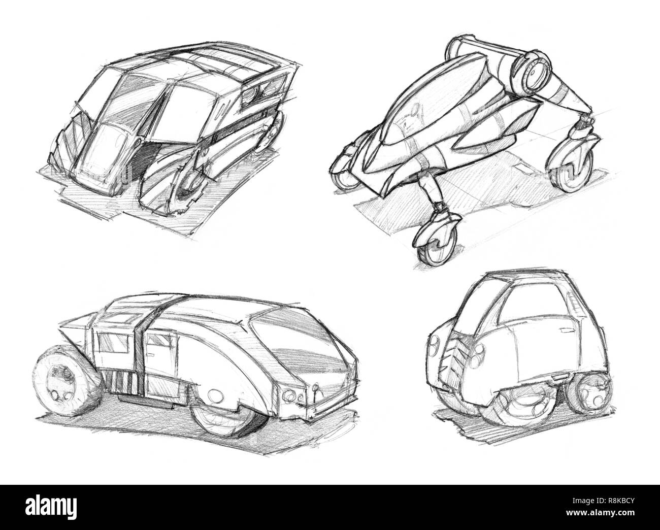 Pencil concept art drawing of set of futuristic sci fi automotive car designs