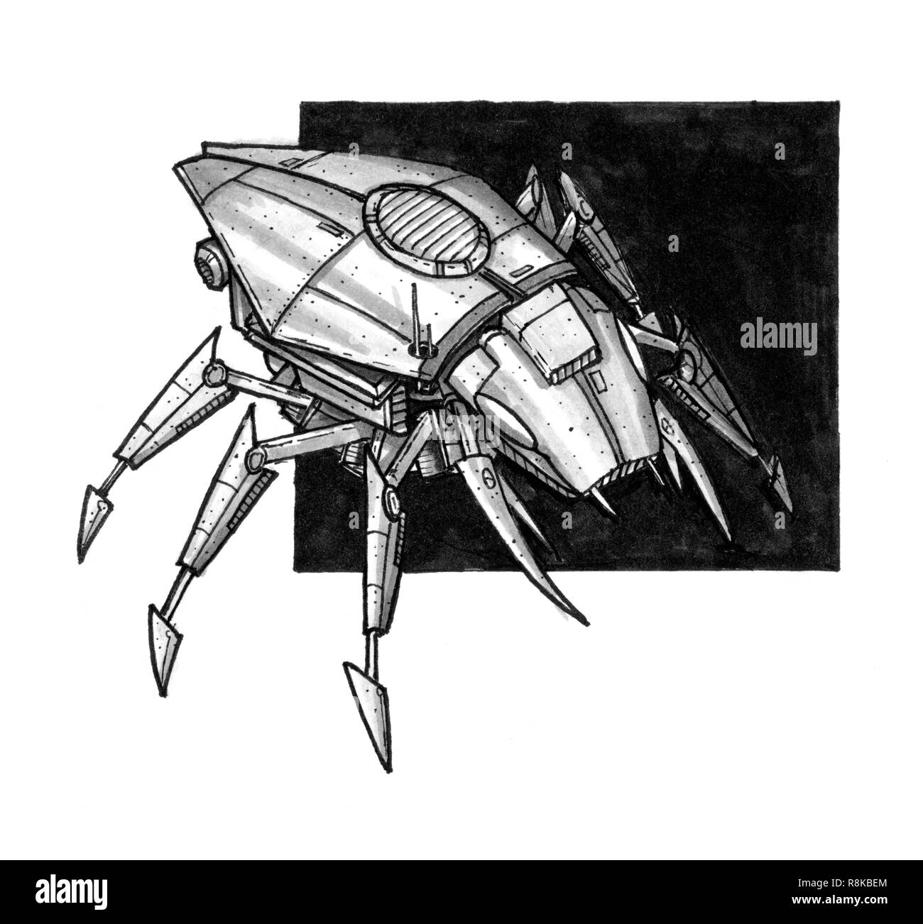 Ink Concept Art Drawing Of Futuristic Or Sci Fi Insect Robot