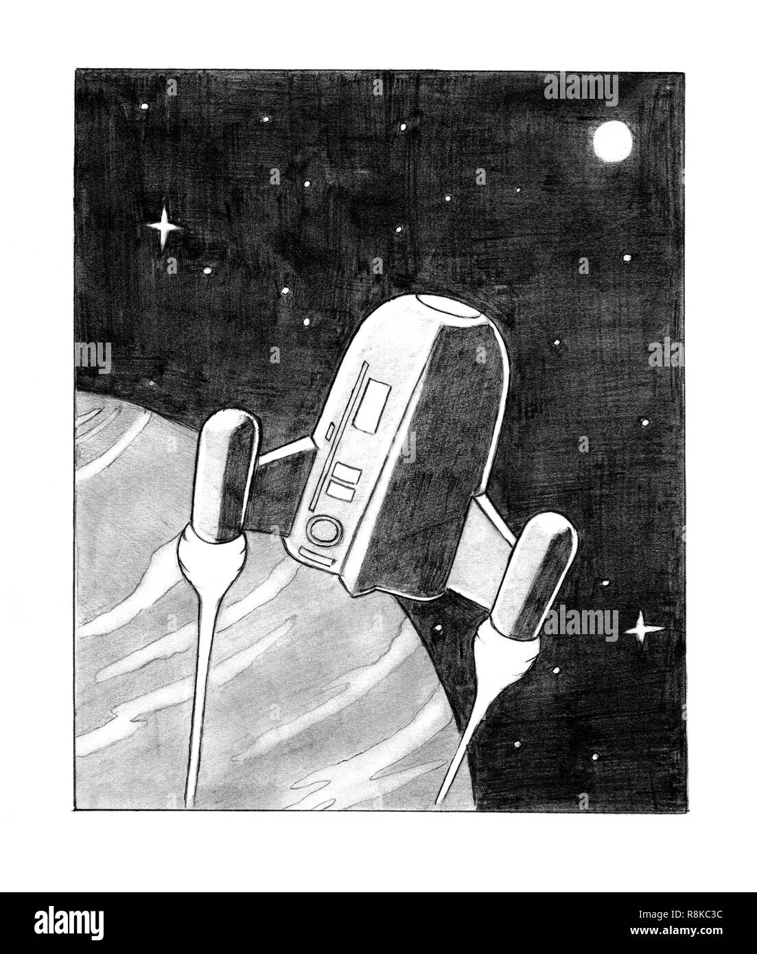 Pencil Drawing of sci-fi Spaceship on Planet Orbit - Stock Image