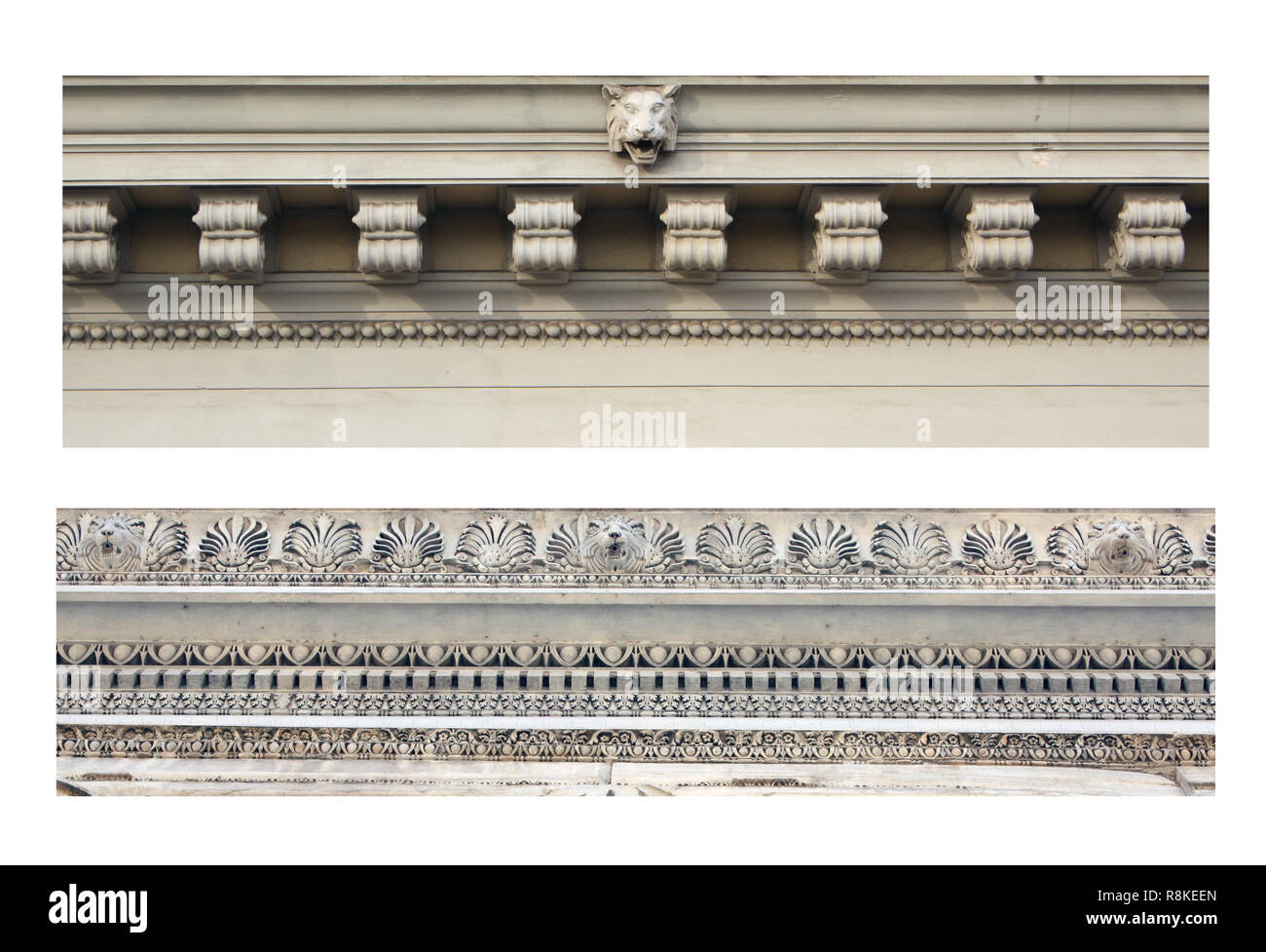 Details of ancient ornamental friezes. Isolated over white - Stock Image