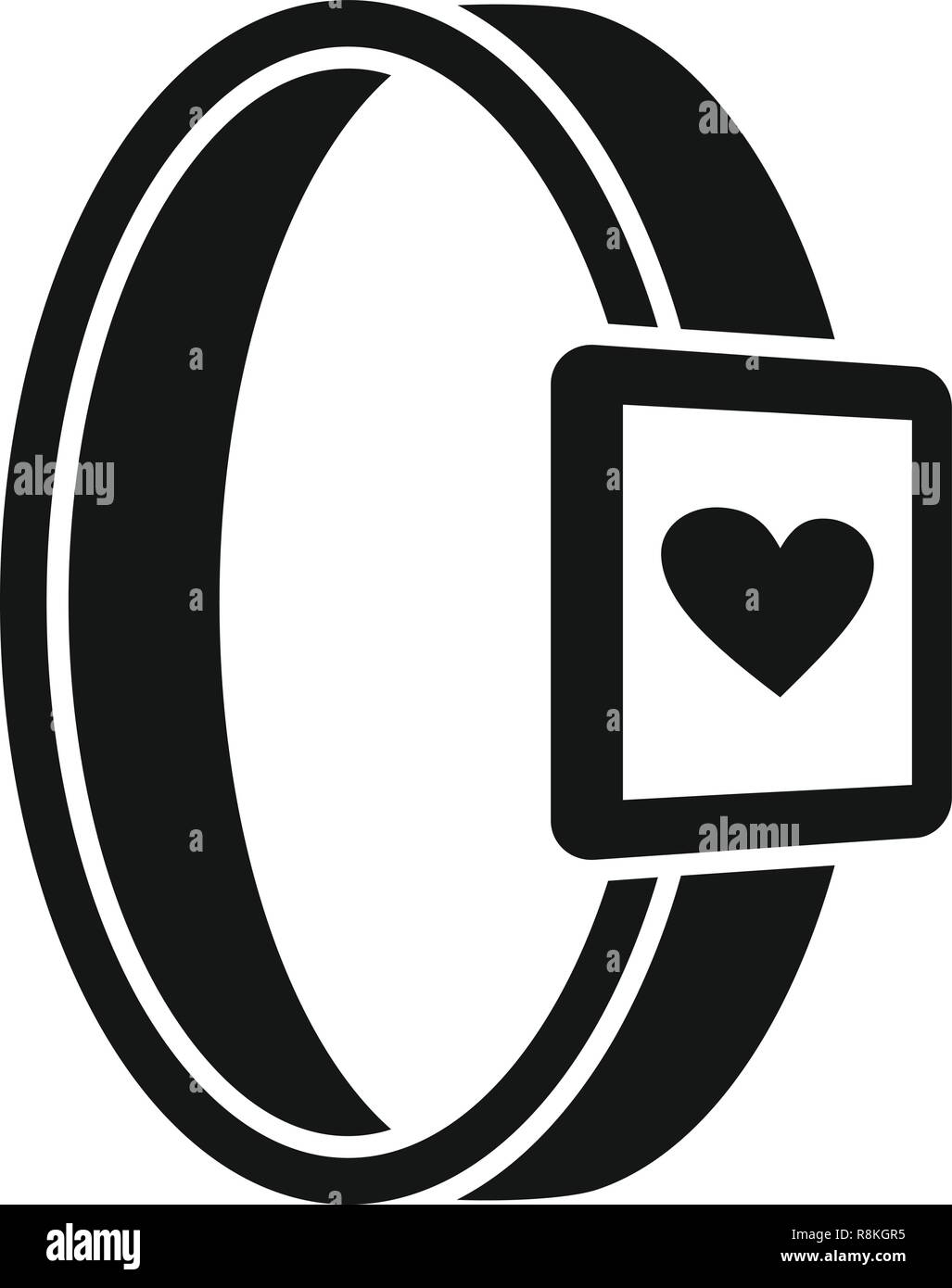 Smartwatch heart monitor icon. Simple illustration of smartwatch heart monitor vector icon for web design isolated on white background - Stock Image