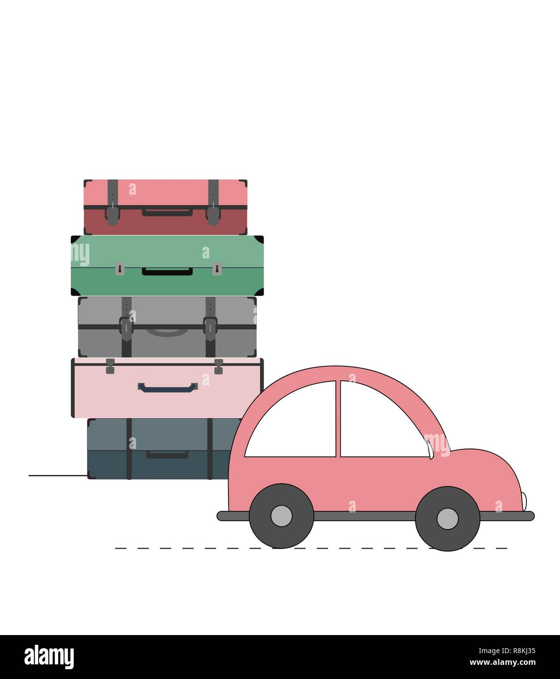 Vector illustration with car and cases. Travel concept. Stock Vector