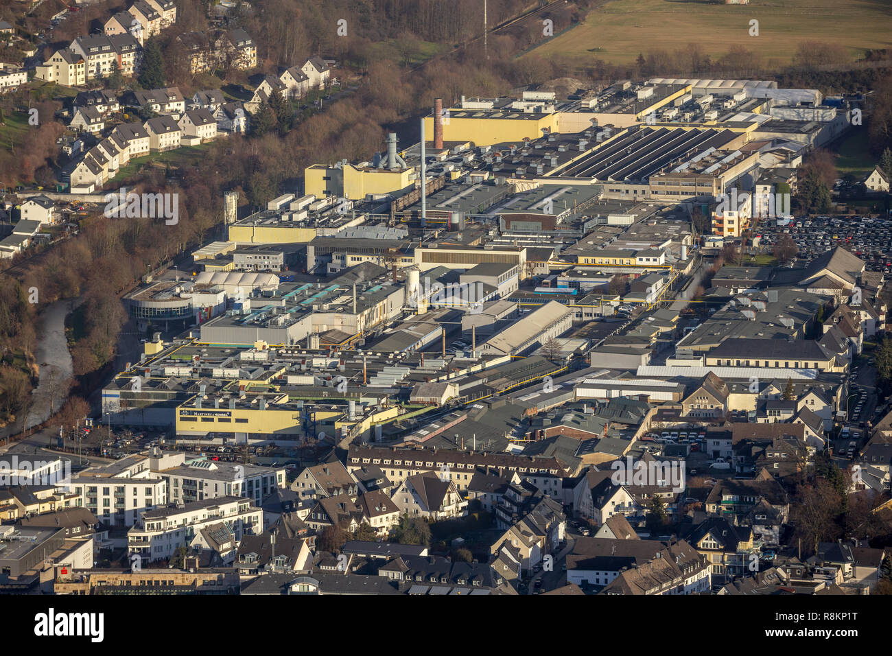 Aerial view, aerial view, factory premises Martinrea Honsel Germany GmbH, supplier for light metal components, Fritz-Honsel-Straße, Ruhr, Meschede, Sa - Stock Image