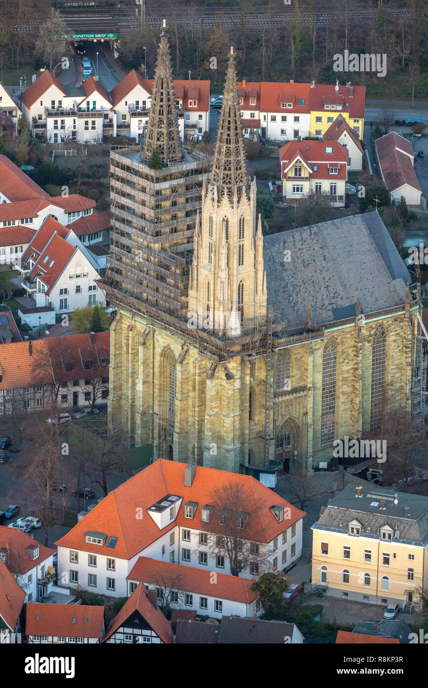 Aerial view, Sankt Maria zur Wiese, Evangelical Church, Soest, Soester Börde, North Rhine-Westphalia, Germany, Europe, aerial view, birds-eyes view, a - Stock Image