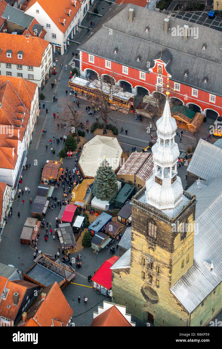 Aerial view, town hall with Christmas market next to St. Peter's Church and St. Patrokli Cathedral, Christmas market, Petrikirchhof, Cathedral Square, Stock Photo
