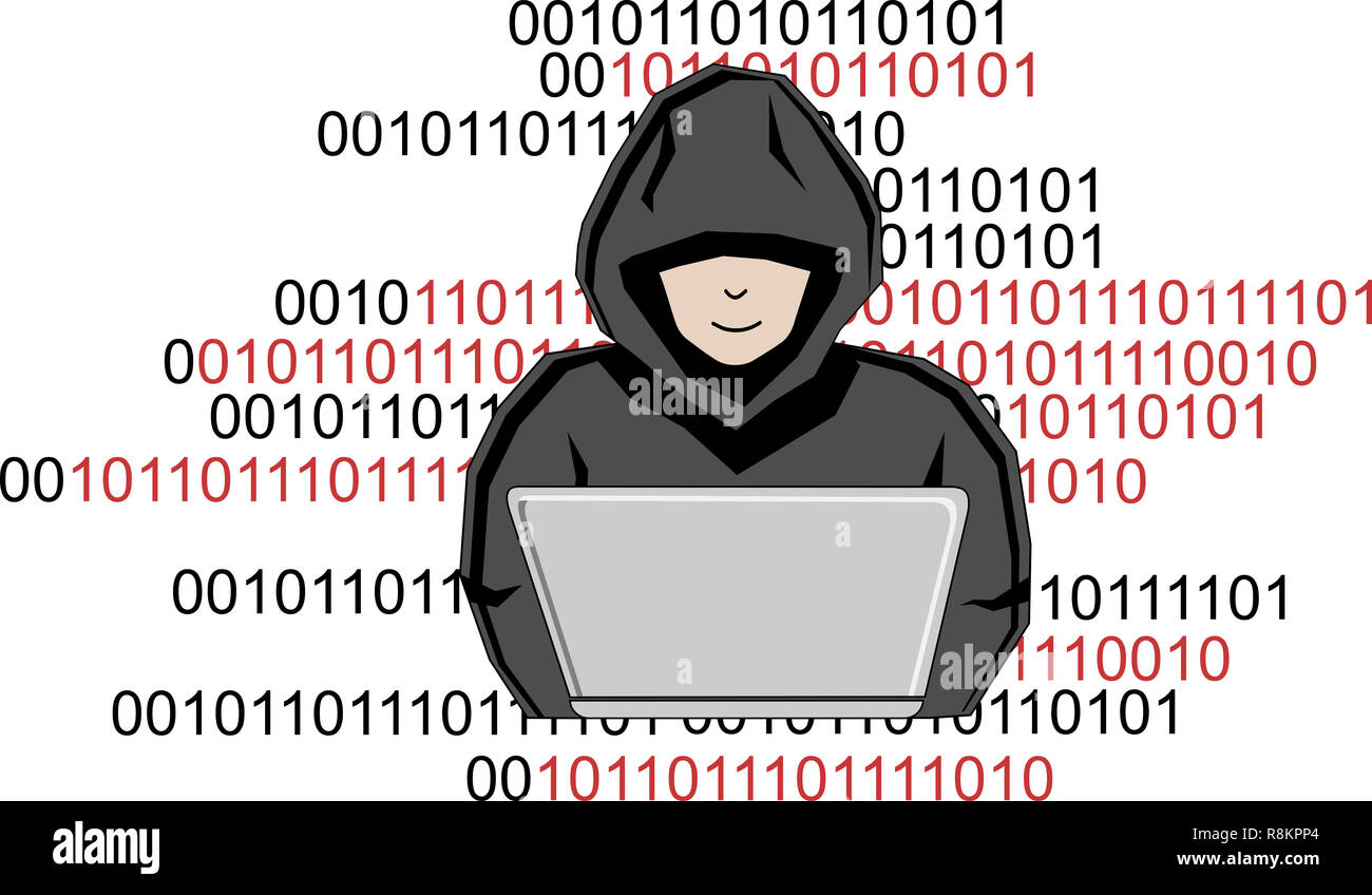 A man hiding under a hood hacks into a computer - Stock Image