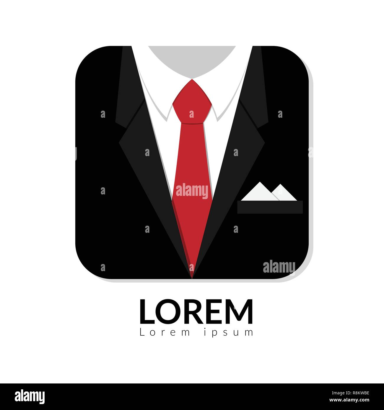 vector illustration of black man suit with red tie and white shirt isolated on white background. business man in suit logo with copy space, man in sui - Stock Vector