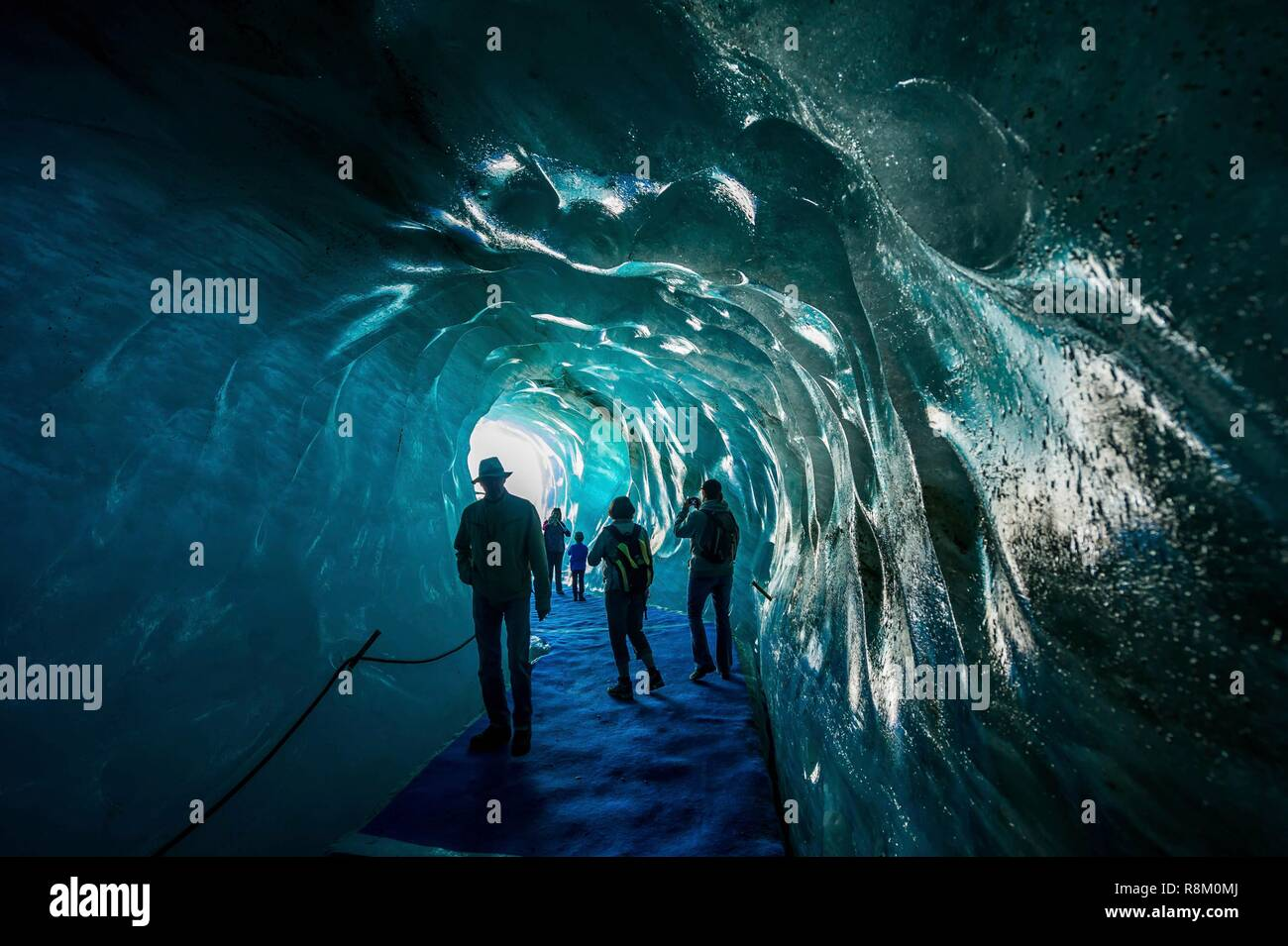 France, Chamonix-Mont Blanc, Haute-Savoie, Montenvers station, ice cave, carved within the Mer de Glace - Stock Image