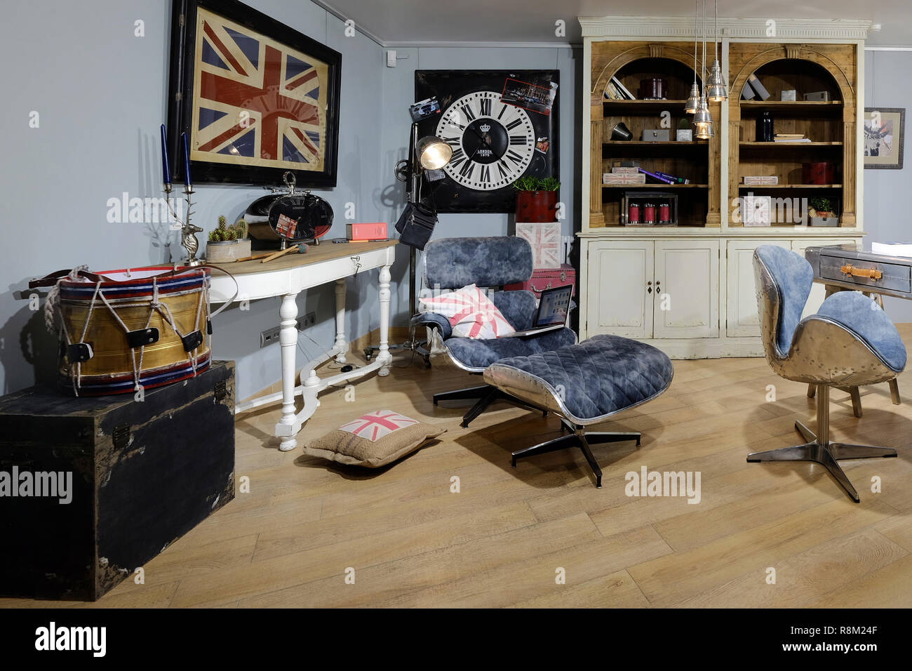 Concept of interior of the room where lives translator. Interior of the room in the style of interpreter. - Stock Image