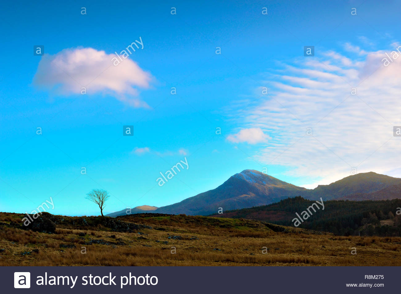 A winter's evening view of the sky and mountains in the Snowdonia National Park, Wales. Stock Photo