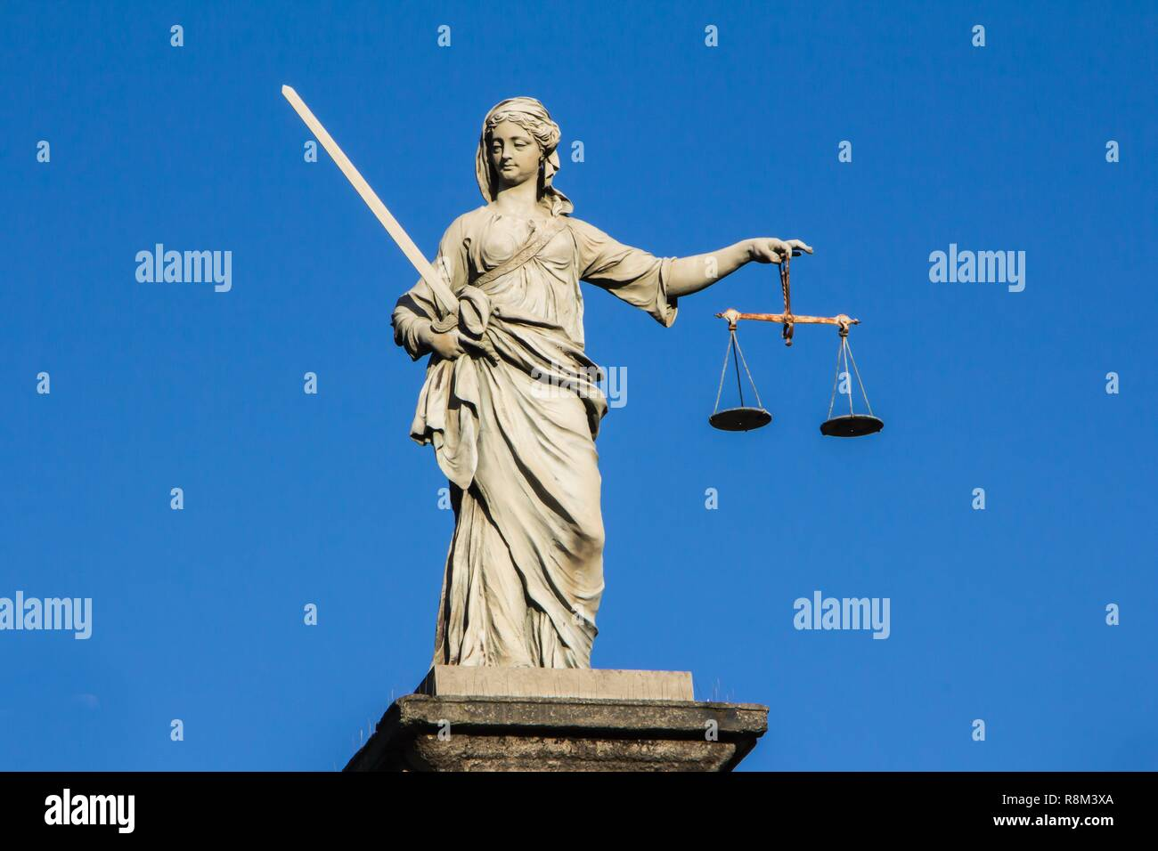 Statue of Lady Justice at Dublin Castle in Dublin, Ireland Stock Photo