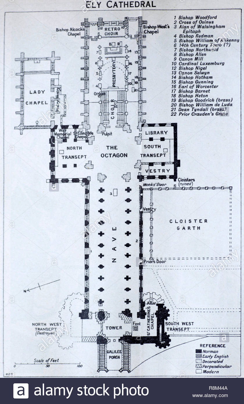 Ely Cathedral Floor Plan Illustration From Early 1900s Stock Photo Alamy