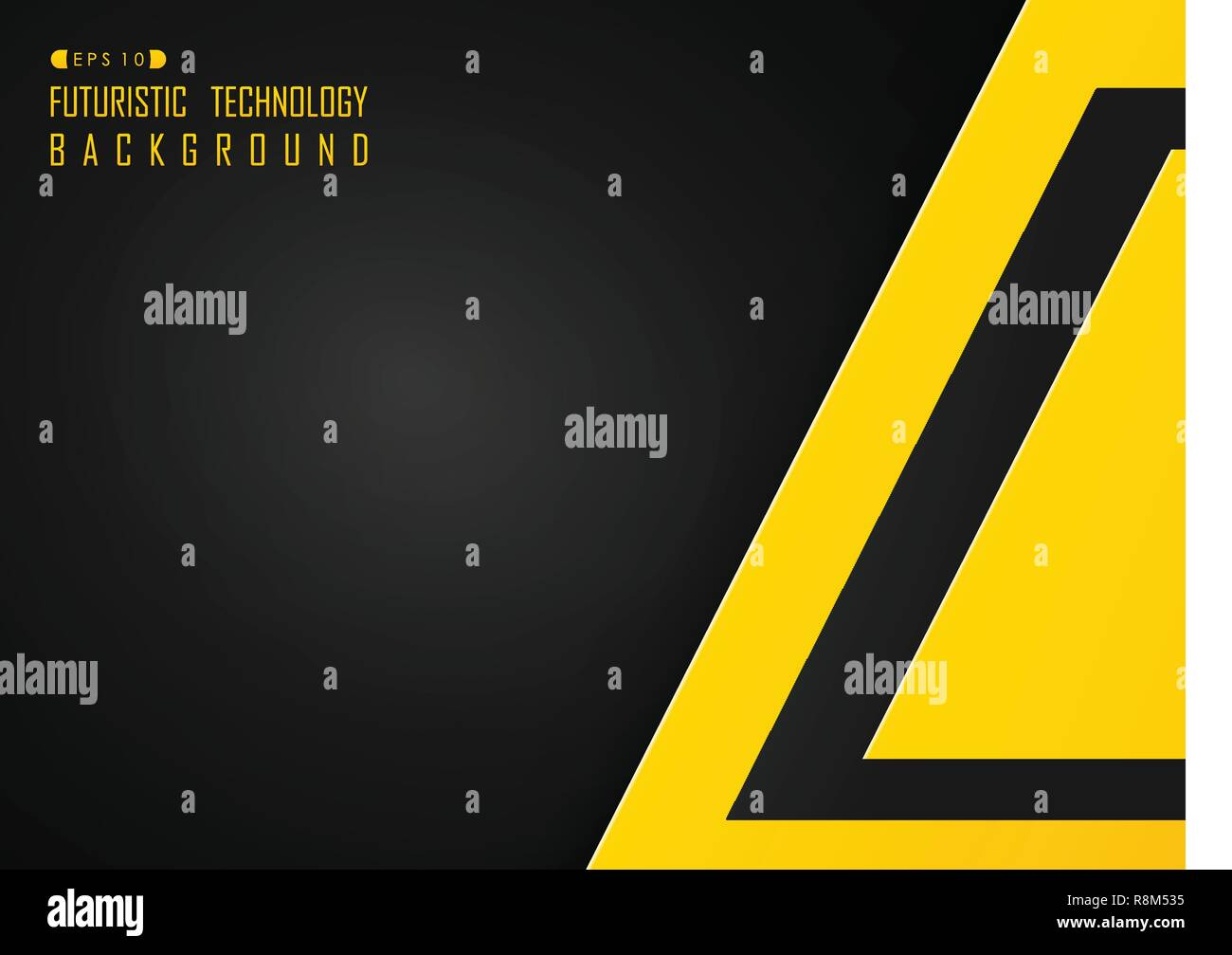 Abstract of hi tech futuristic technology black and yellow color background, vector eps10 - Stock Image
