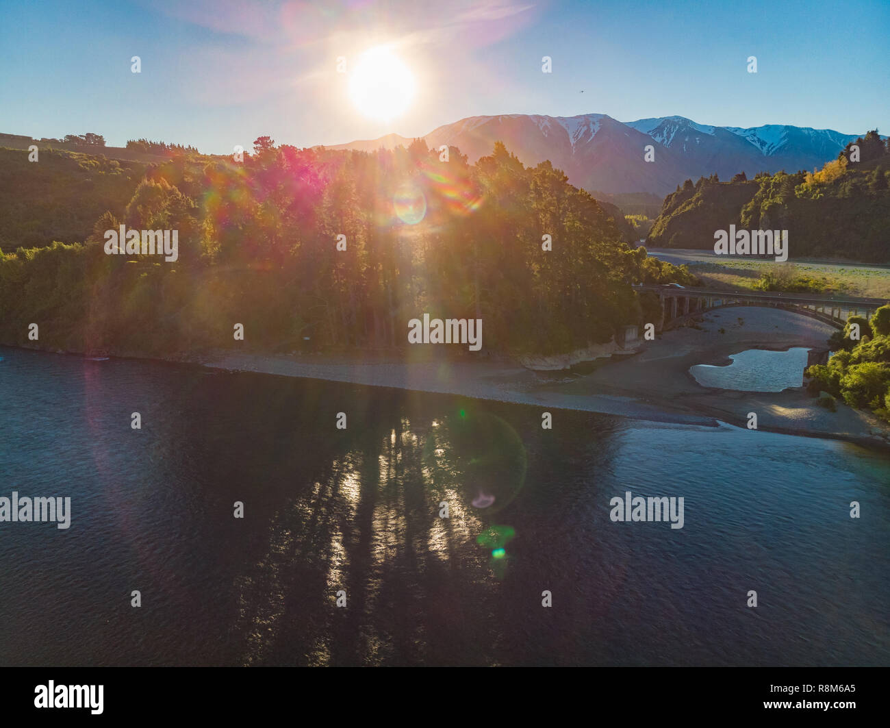 Bridges over Rakaia river, Rakaia Gorge, New Zealand, South Island, during sunset Stock Photo