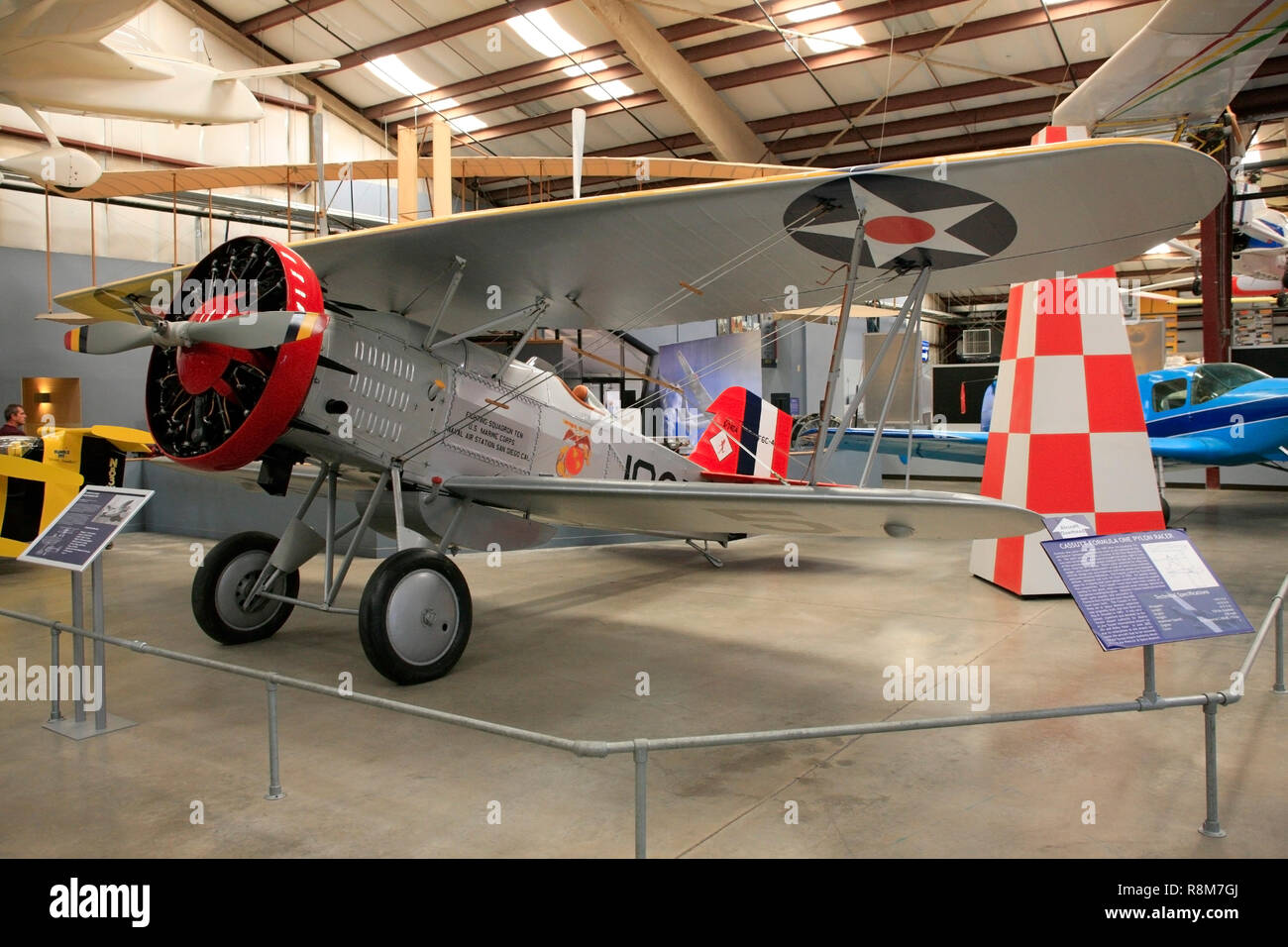 Curtiss F6C Hawk USNavy bi-plane from 1931 on display at the Pima Air & Space Museum in Tucson, AZ - Stock Image