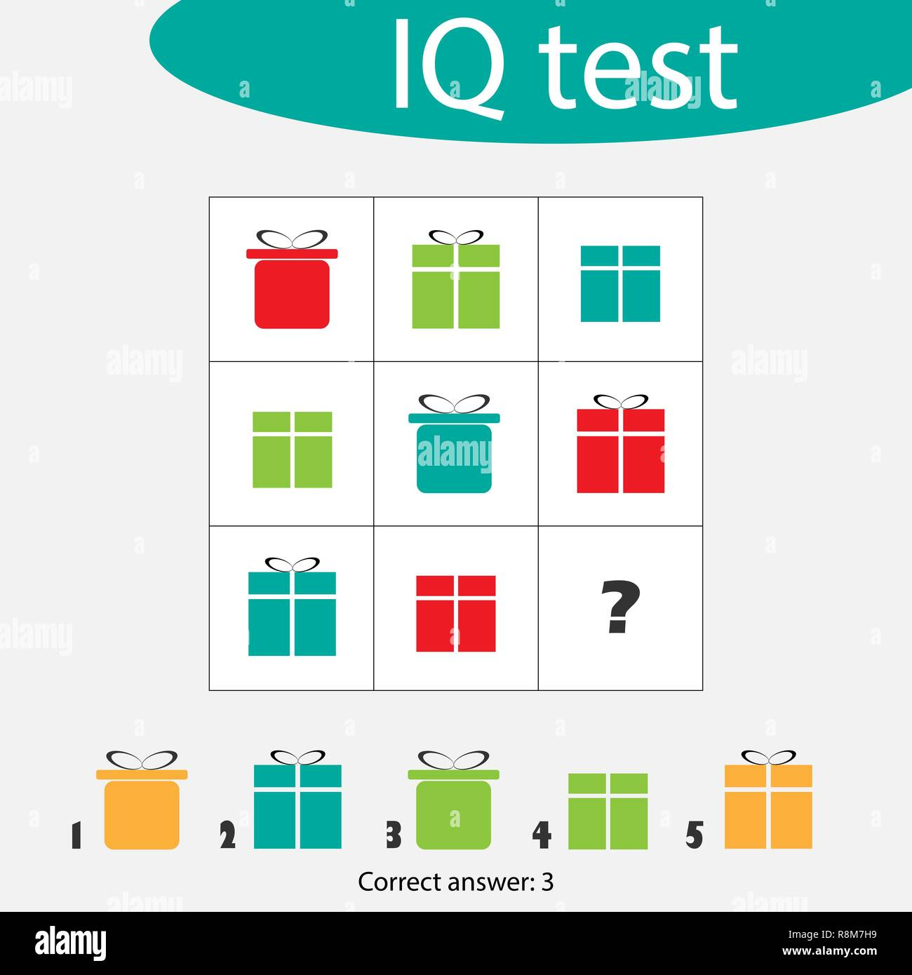 Choose correct answer, IQ test with christmas gift boxes for children, xmas fun education game for kids, preschool worksheet activity, task for the development of logical thinking, vector illustration - Stock Image
