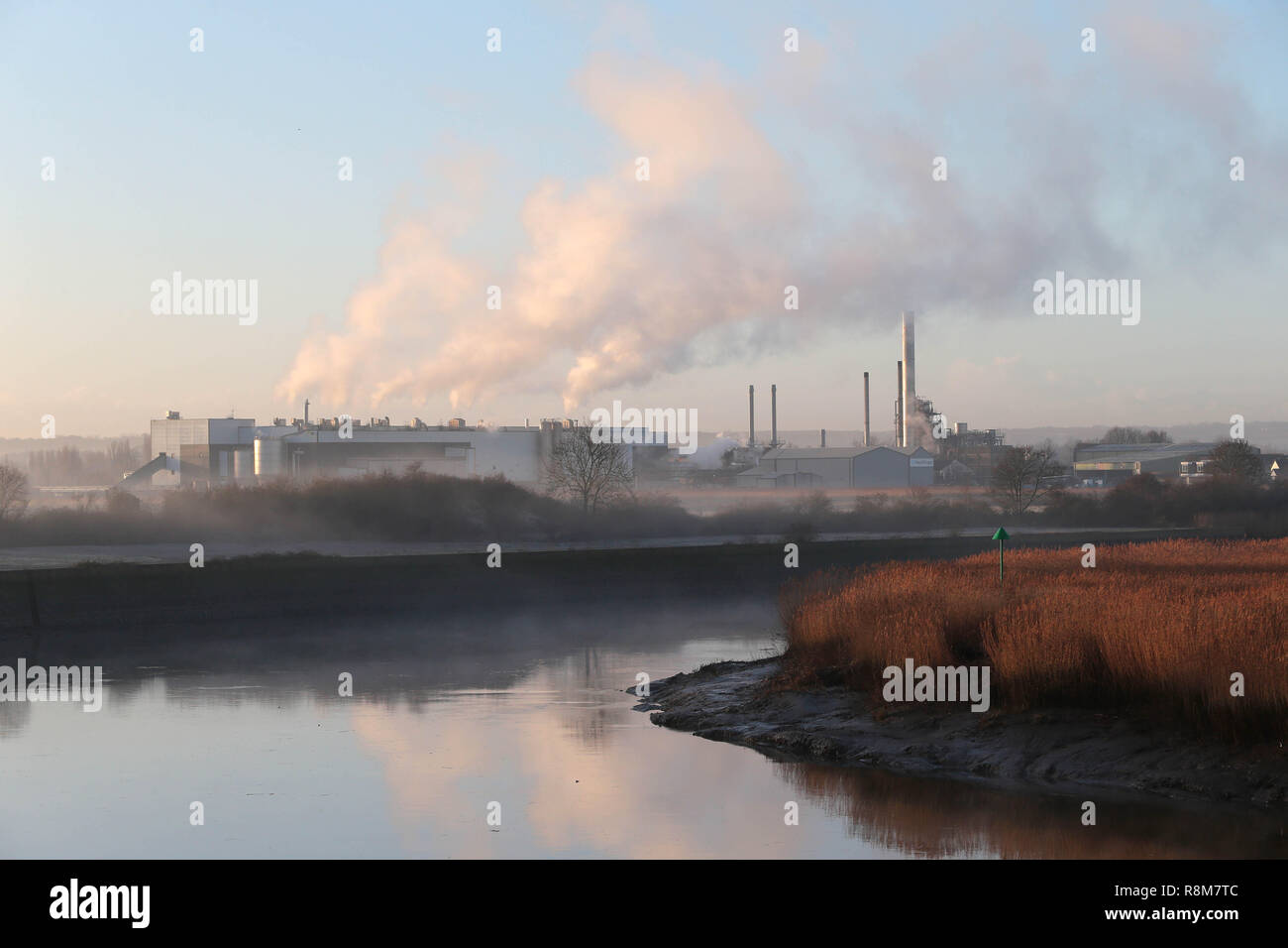 Smurfit Kappa plant, on the banks of the River Medway at Aylesford Kent UK. Smurfit Kappa are one of Europes largest recyclers of paper and card. - Stock Image