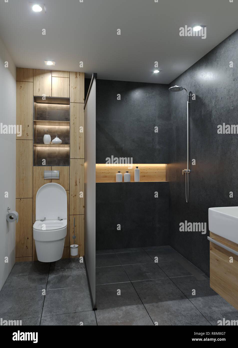 Superieur Modern Minimalistic New Bathroom With Cement Concrete Grunge ...