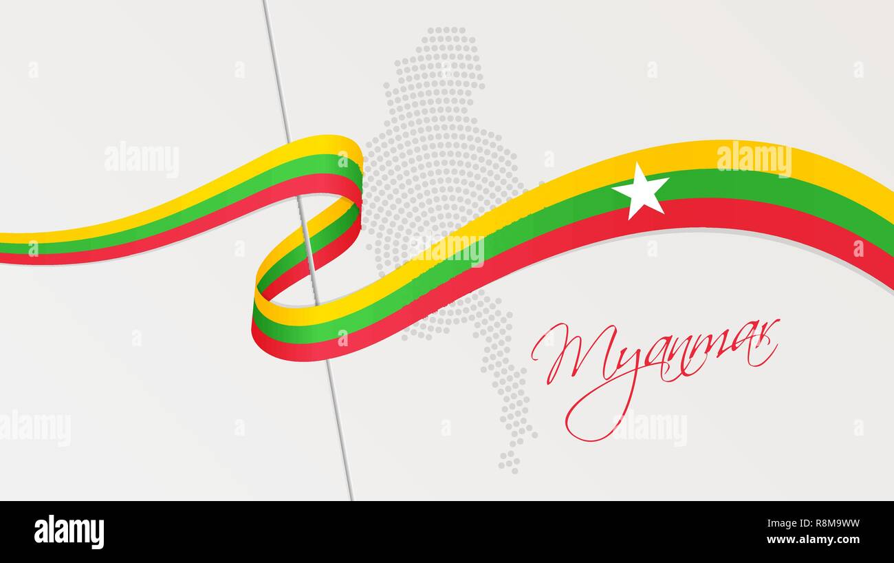 Vector illustration of abstract radial dotted halftone map of Myanmar and wavy ribbon with national flag colors for your graphic and web design - Stock Vector