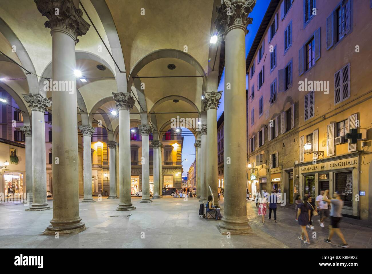 Italy, Tuscany, Florence, historic center listed as World Heritage by UNESCO, place Piazza del Mercato Nuovo - Stock Image