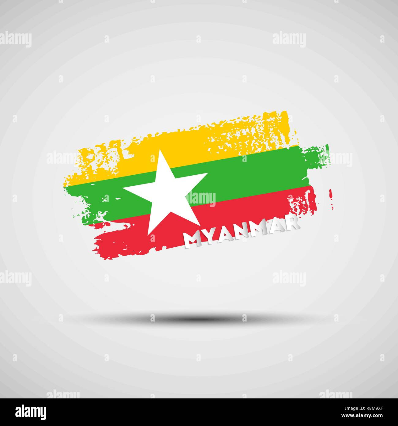 Flag of Myanmar. Vector illustration of grunge brush stroke with Myanmar national flag colors for your graphic and web design - Stock Vector