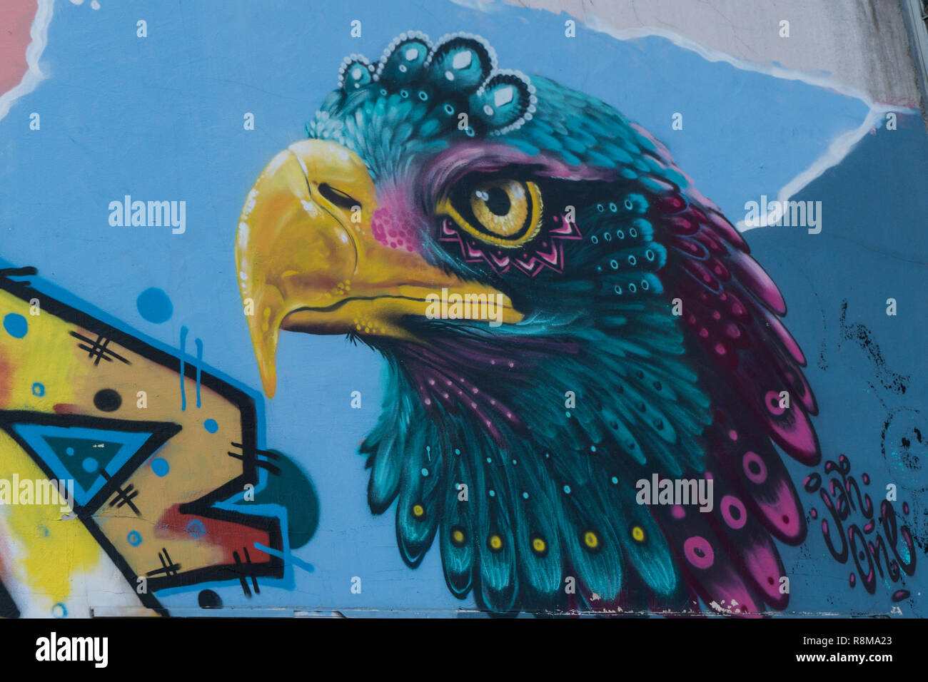 Eagle's head graffiti Stock Photo