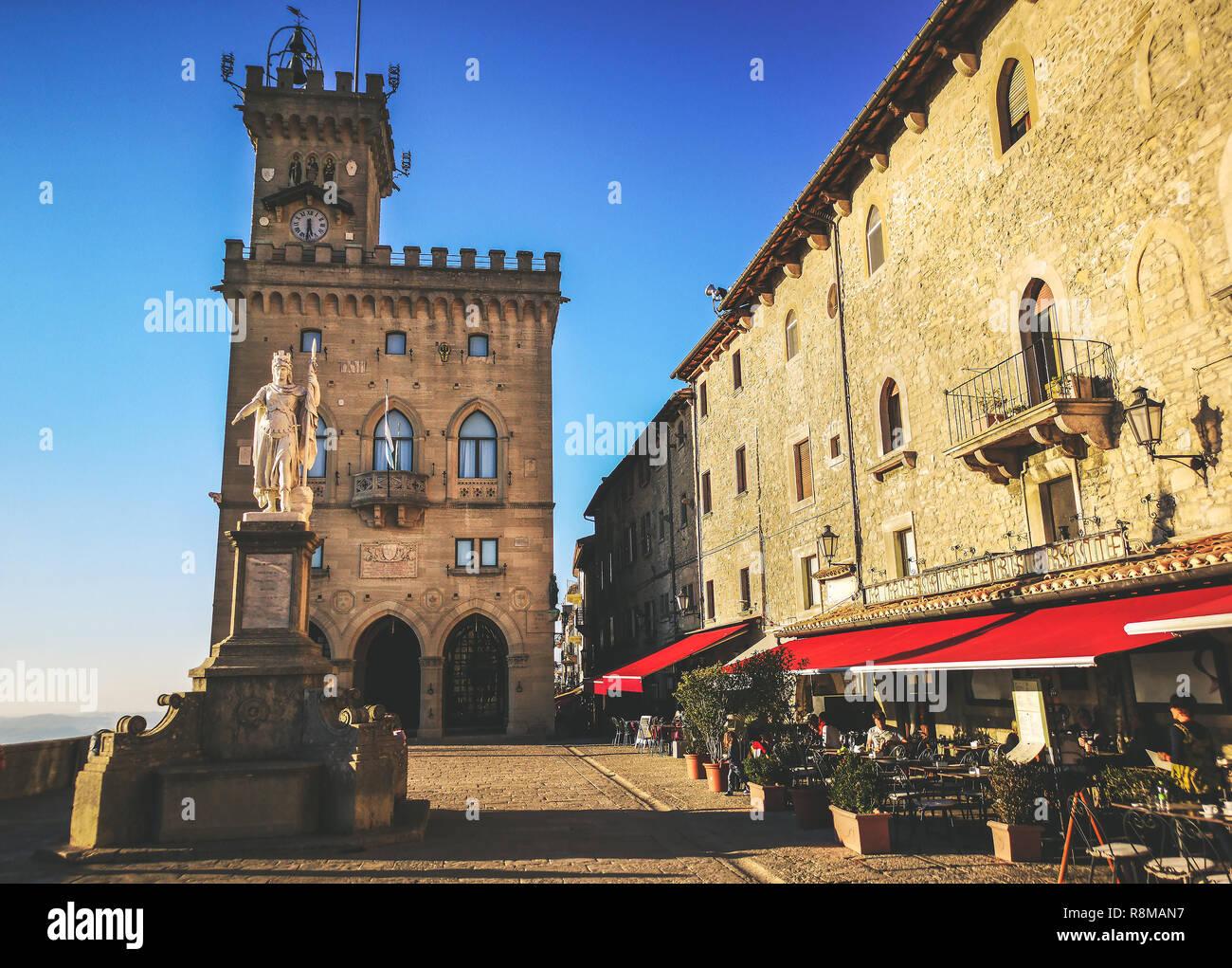 San Marino square of Palazzo Pubblico - Repubblica di San Marino - Stock Image