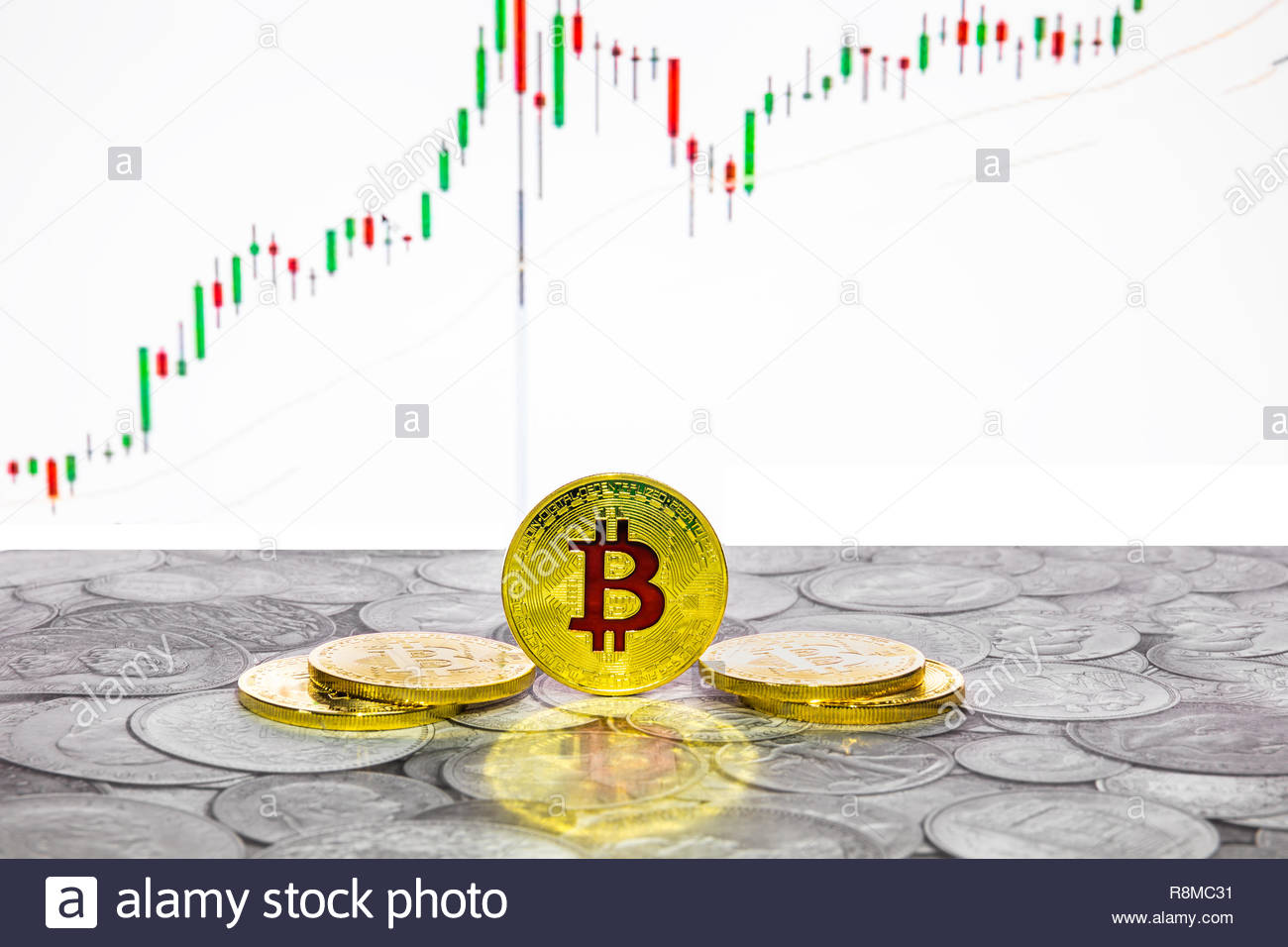 Bitcoin coins with global trading exchange market price chart in the