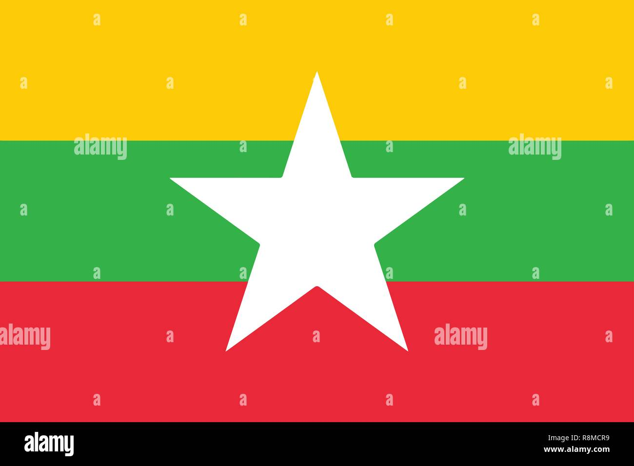 The national flag of the African country of Myanmar - Stock Vector