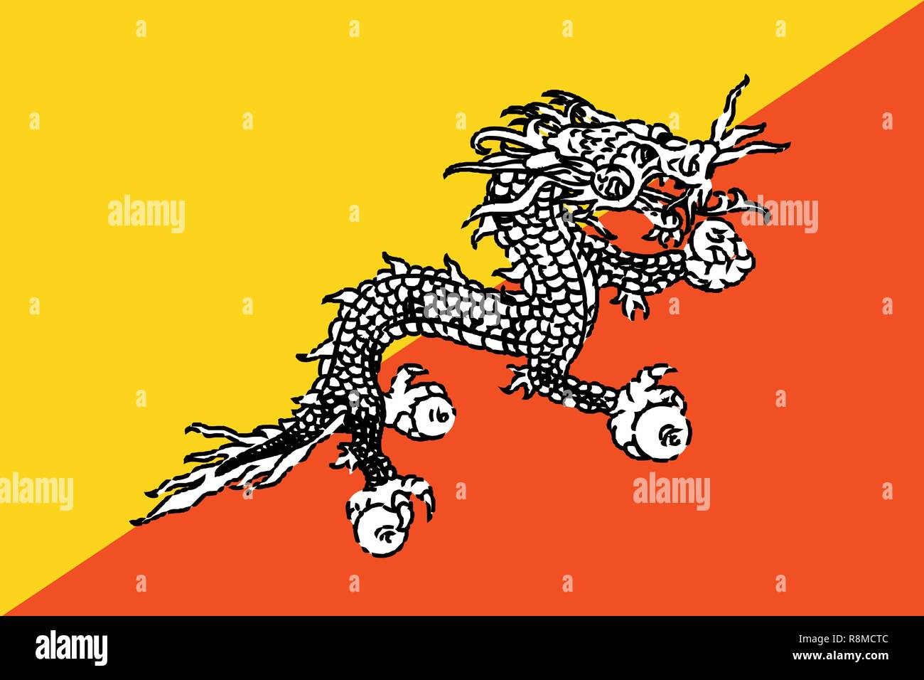 The national flag of Bhutan with dragon - Stock Vector