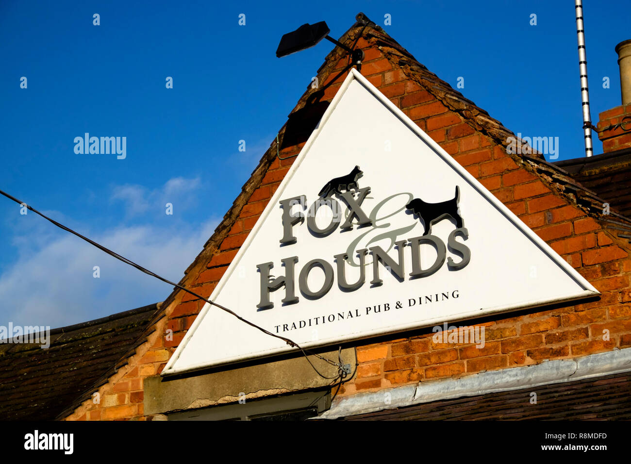 Shenstone is a small village is Staffordshire England UK Fox and Hounds Pub sign Stock Photo
