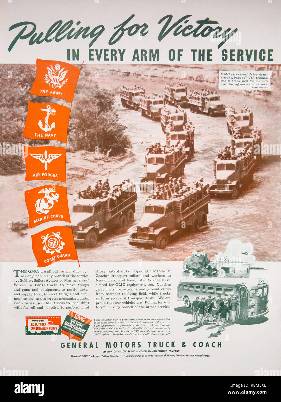 Magazine advertising by General Motors highlighting its contributions of vehicles to winning World War II. - Stock Image