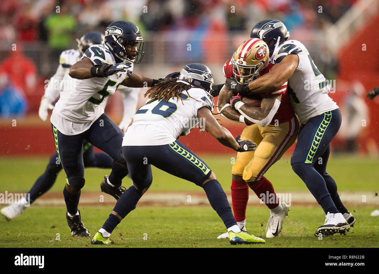3dfc462a48b San Francisco 49ers wide receiver Marquise Goodwin (11) is tackled by Seattle  Seahawks middle linebacker Bobby Wagner (54) in the fourth quarter during a  .