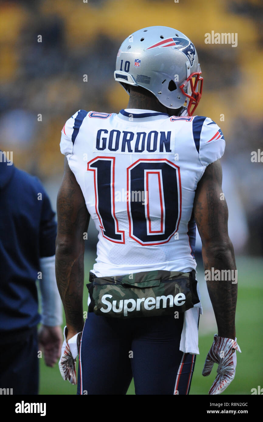 December 16th 2021 Patriots 10 Josh Gordon With The Supreme Hand Warmer During Pittsburgh Steelers Vs New England Game At Heinz Field In