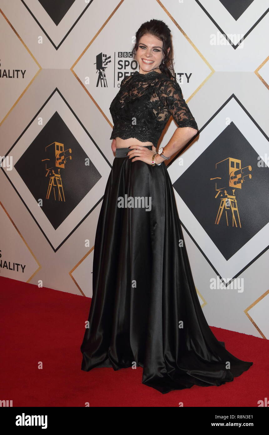 Lauren Steadman on the red carpet at the BBC Sports Personality Of The Year 2018 at the Resorts World Arena. - Stock Image