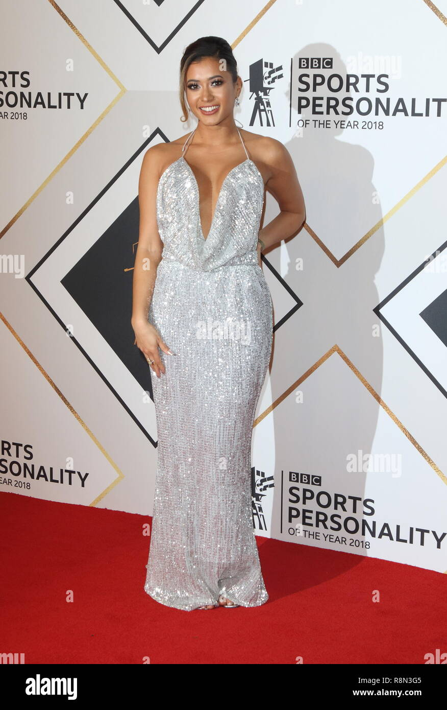 Kaz Crossley on the red carpet at the BBC Sports Personality Of The Year 2018 at the Resorts World Arena. - Stock Image