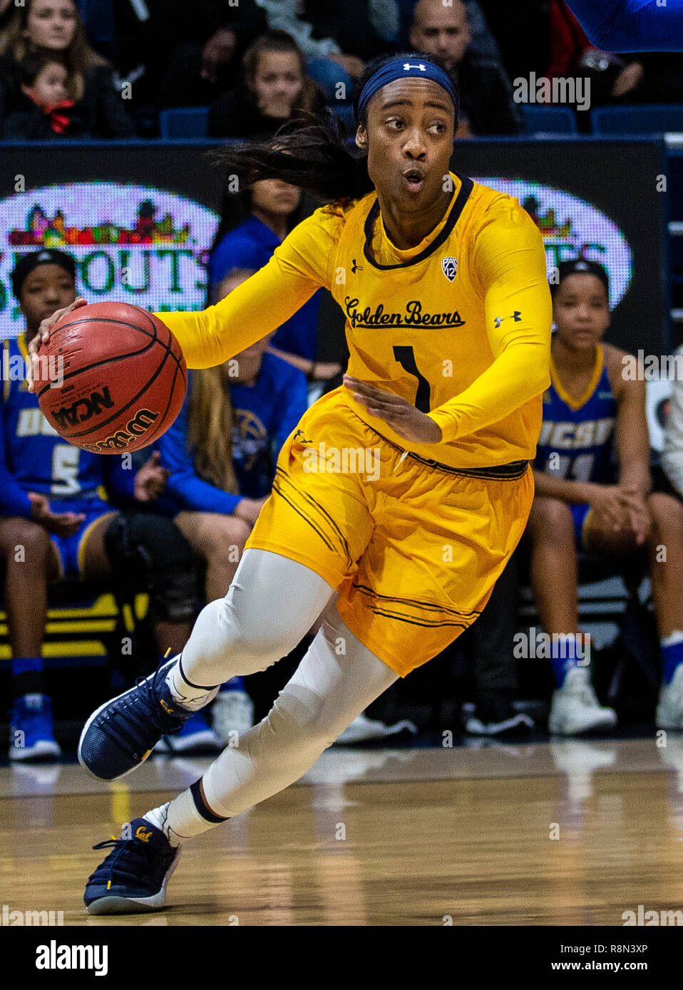 Hass Pavilion Berkeley Calif, USA. 16th Dec, 2018. U.S.A. California guard Asha Thomas (1) scored 7 points and 1 assist drives to the basket during the NCAA Women's Basketball game between UC Santa Barbara Gauchos and the California Golden Bears 69-84 win at Hass Pavilion Berkeley Calif. Thurman James/CSM/Alamy Live News - Stock Image
