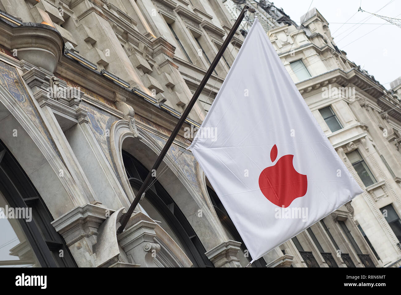 Apple stores around the world are turning red to honor of