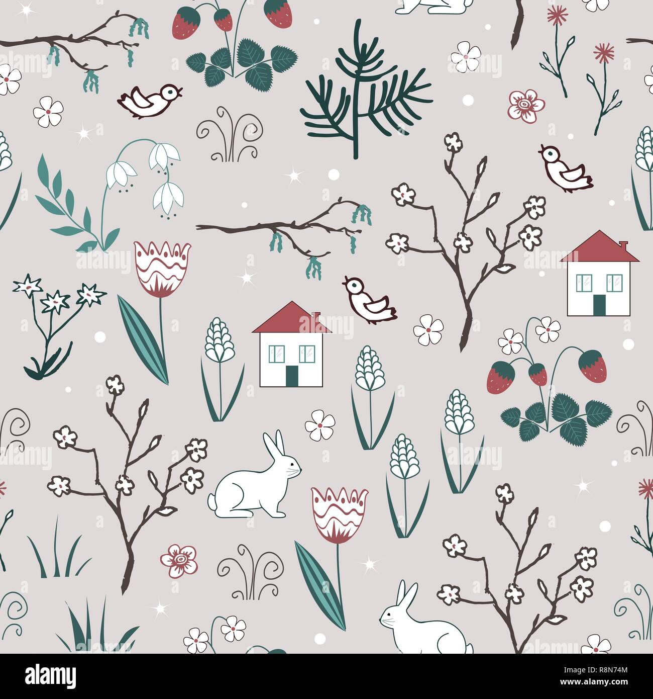 Cute spring vector seamless pattern with cartoon doodle