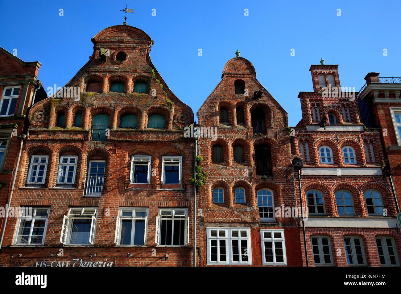 Square Am Sande, old houses,  Lüneburg, Lueneburg, Lower Saxony, Germany, Europe - Stock Image