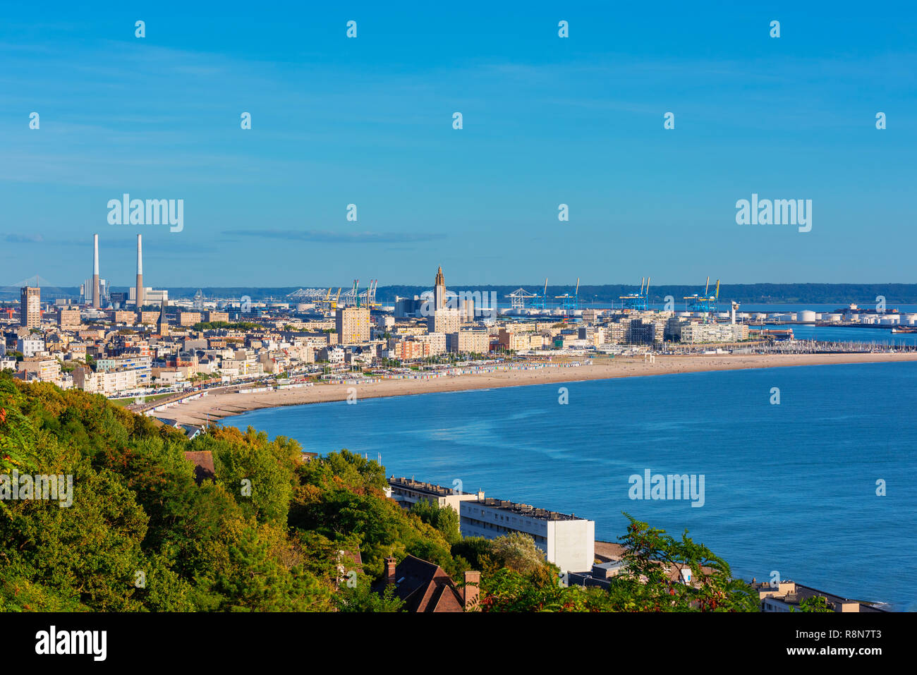 High angle view on the Skyline, Coastline and Harbor of Le Havre, Normandy, France - Stock Image