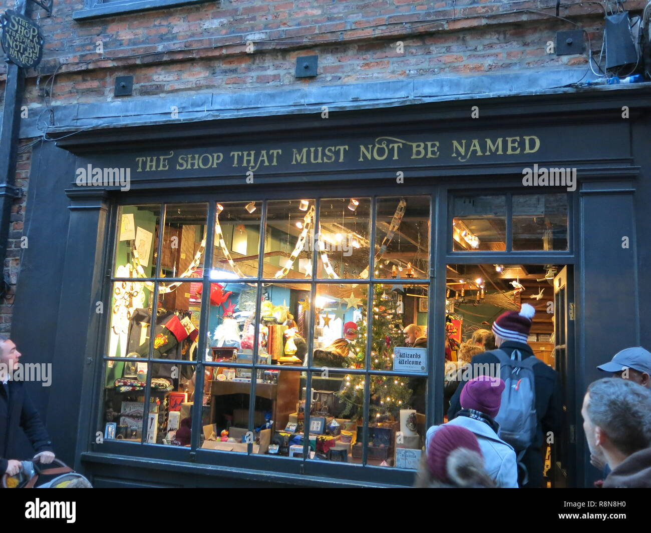 Exterior view of 'the shop that must not be named', officially licensed to sell Harry Potter merchandise and collectables; the Shambles, Xmas 2018 - Stock Image